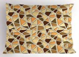 Lunarable Modern Pillow Sham, Street Design Wall Pattern Rock Like Image in Brown Tones Artwork, Decorative Standard Queen Size Printed Pillowcase, 30 X 20 inches, Cream Salmon and Sand Brown