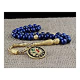 Lapis Stone Ottoman Coat of Arms Blackout Metal Rosary Tassels
