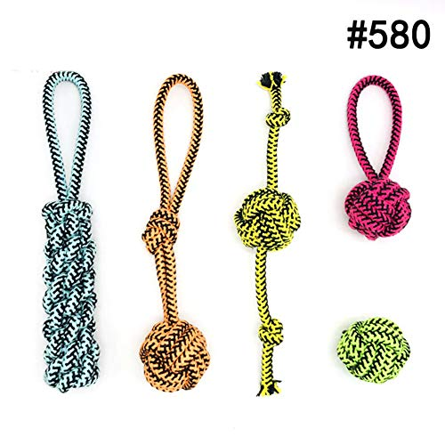 (XDYFF Rope Toys Dog Chew Toys Serpentine Cotton Rope with TPR Ball Grinding Sound bite Resistance Puzzle for Small Medium Dogs Teething Training Toy,B)