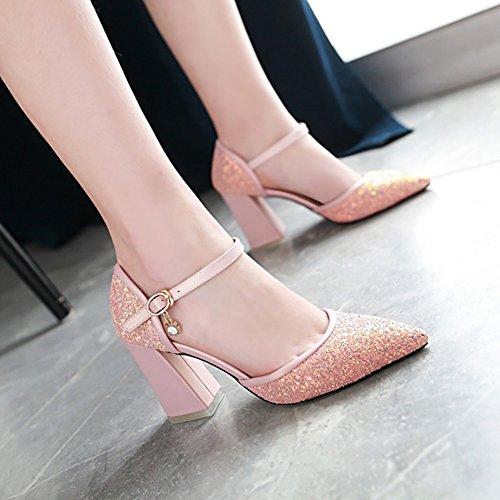 de Blackish Bling tacón Pink verano green Bling ZJM 41 35 34 Gorgeous Gorgeous de zapatos fino Sandalias mujeres Color ocasionales Tamaño las romanas alto Femenino fRxwx5WvCq