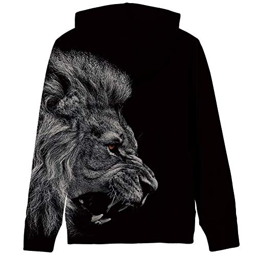 RAISEVERN Unisex Realistic 3D Printed Sports Pullover Sweatshirt Hoodies with Powerful Lion for Boys Girls