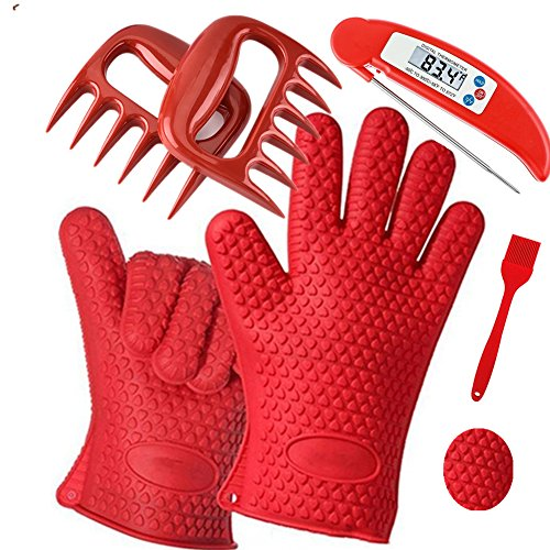 ZX-HOME BBQ Grilling Tool Set-Silicone Grill /Cooking Gloves ,Meat/Grill Thermometer, Meat Shredder - Meat Warmer