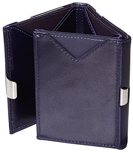 Exentri de cuero genuino monedero tarjeta de crédito púrpura