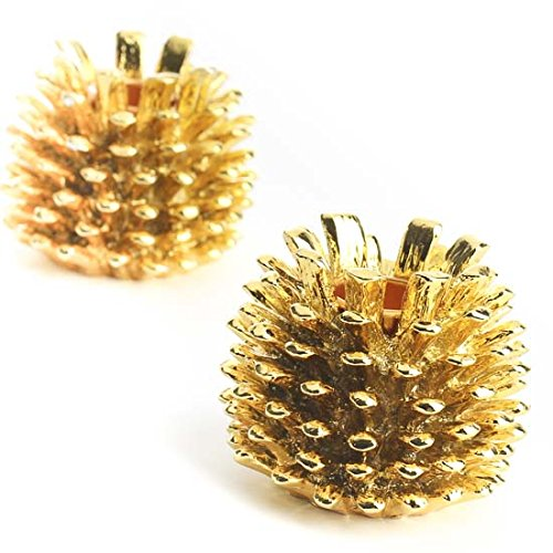 - Factory Direct Craft Pair of Metallic Gold Painted Metal Pinecone Candle Holders for Holiday and Home Decor