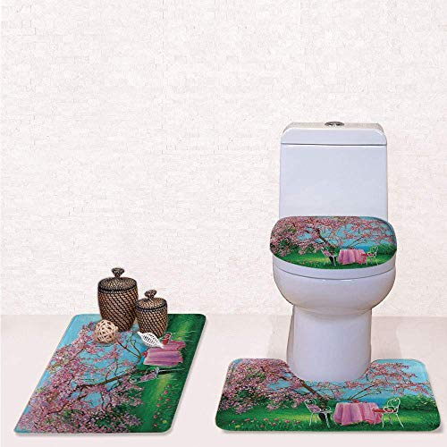 - Comfort Flannel 3 Pcs Bath Rug Set,Contour Mat Toilet Seat Cover,Tea Time Theme Vintage Chairs Plum Tree Spring Garden Painting with Light Blue Green and Light Pink,Decorate Bathroom,Entrance Door,ki