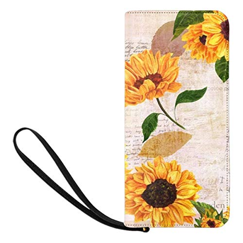 InterestPrint Sunflowers and Lavender Flowers Womens Clutch Wallet Large Wristlet Zipper Clutch Large Travel Purse