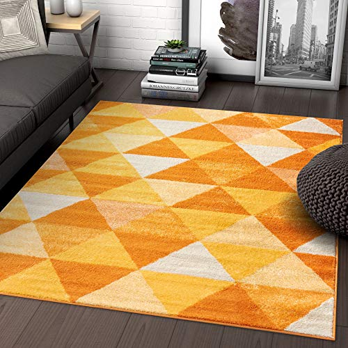 Isometry Orange & Yellow Modern Geometric Triangle Pattern 5x7 (5' x 7') Area Rug Soft Shed Free Easy to Clean Stain Resistant (White Orange Rug And Area)