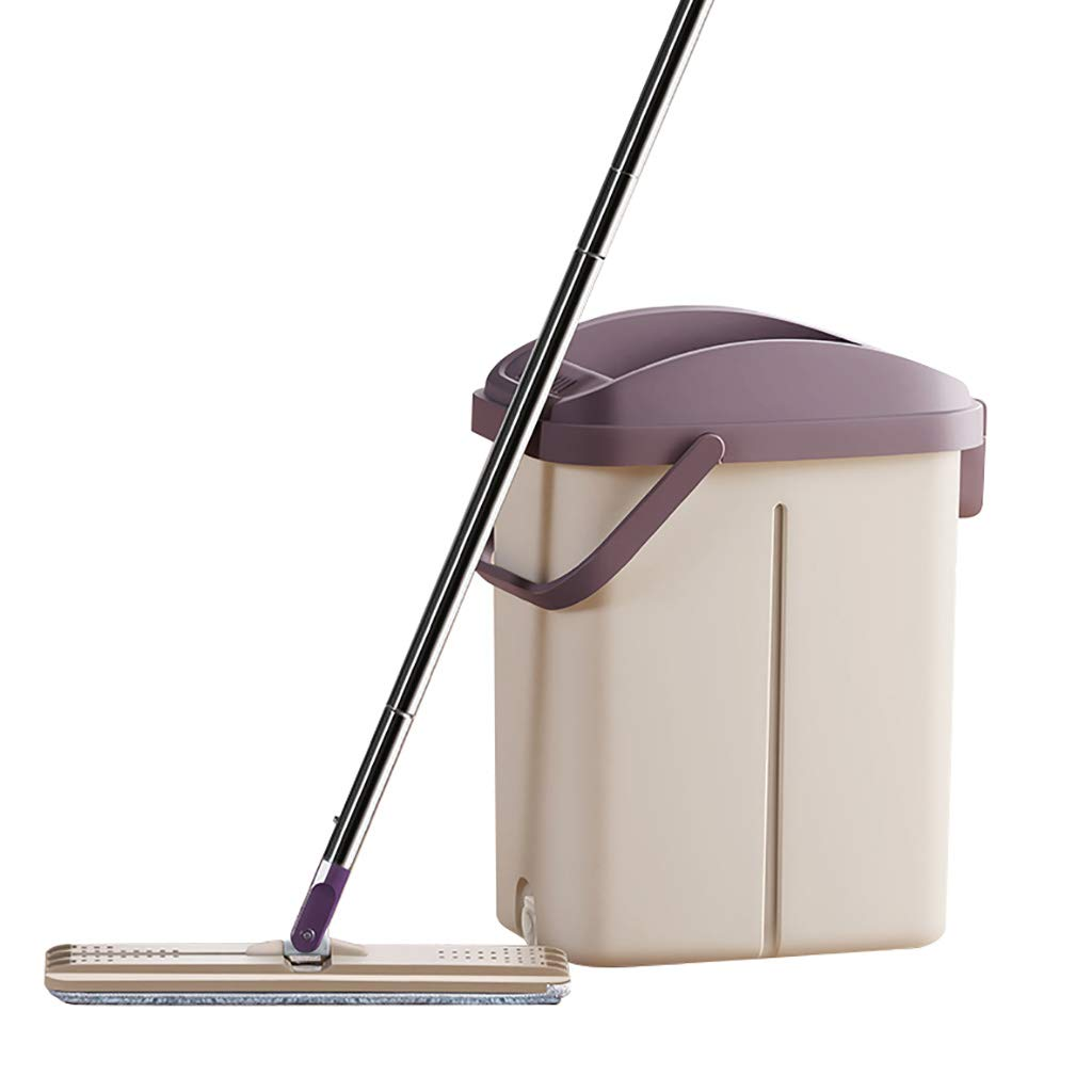 フロアモップワイパー 回転モップ、360°回転モップヘッド、ハンドフリー洗濯、洗濯と乾燥、(マイクロファイバー) B07L8GNC2T