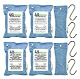 Moso Activated Bamboo Charcoal Air Purifying Bag (6 Pack | 200g & 75g Bags) Charcoal Odor Absorber, Car Air Purifier, Shoe Odor Eliminator, Closet Deodorizer Breathe Eco Green Air Freshener for Home