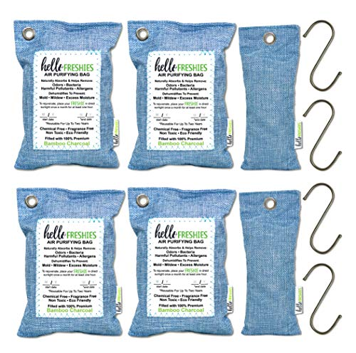 Activated Moso Bamboo Charcoal Air Purifying Bag (6 Pack - 200g and 75g Bags) Moisture Absorber, Car Air Freshener, Odor Eliminators for Home, Closet Deodorizer, Pet Odor, Shoe Odor, Breathe Eco Green