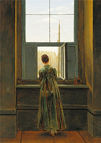 Polyster Canvas ,the Best Price Art Decorative Canvas Prints Of Oil Painting 'Caspar David Friedrich Frau Am Fenster ', 20 X 28 Inch / 51 X 72 Cm Is Best For Home Office Decor And Home Artwork And Gifts