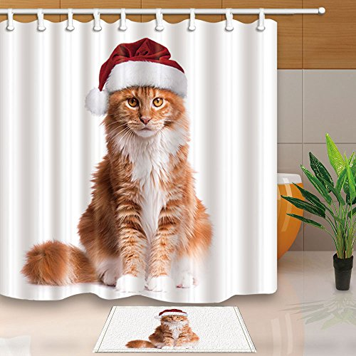 NYMB Christmas Animals Decor, Lovely Cat in red Christmas Santa Hat, 69X70in Mildew Resistant Polyester Fabric Shower Curtain Suit With 15.7x23.6in Flannel Non-Slip Floor Doormat Bath Rugs