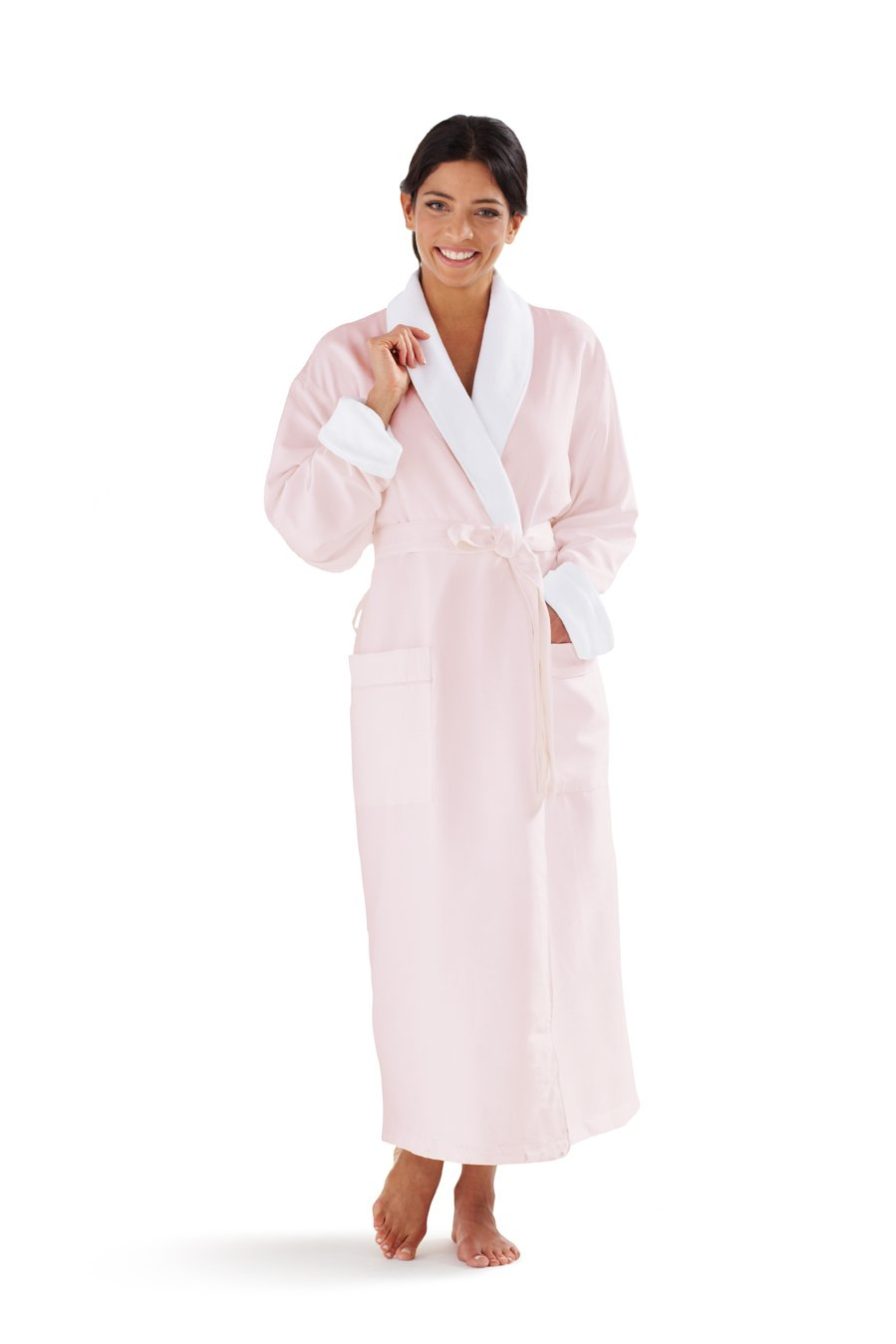 Boca Terry Women's Robe, Luxury Microfiber Pink Bathrobe, One Size Fits All
