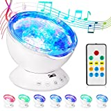 HogarTech Remote Control Ocean Wave Projector 12 LED Night Light with Built-in Mini Music Player & 7 Colors Night Lamp for Bedroom Living Room Parties (White)