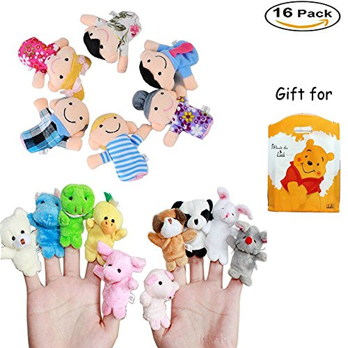 16PCS Finger Puppets Set Novelty Educational Props for Toddlers including 10 Animals + 6 People Family Soft Adorable Puppet for Baby Story Time, Playtime,Schools Great for Kids with Adorable Gift Bag