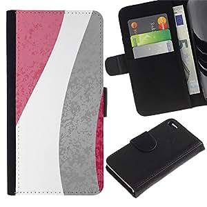 Apple iPhone 4 / iPhone 4S Modelo colorido cuero carpeta tirón caso cubierta piel Holster Funda protección - Flowers Lines White Gray Pink Pattern