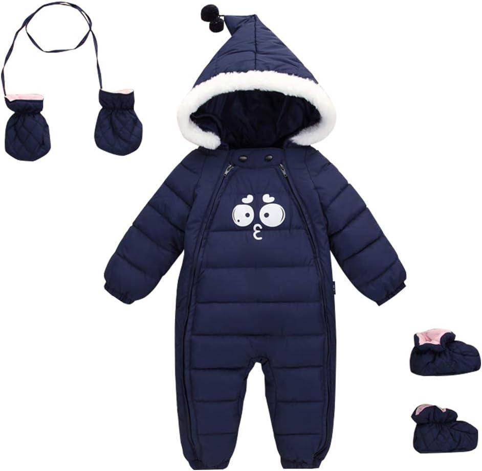 Bambino Tute da neve Guanti Scarpe Neonato Pagliaccetti con Cappuccio Inverno Body con Cerniera 12-18 Mesi