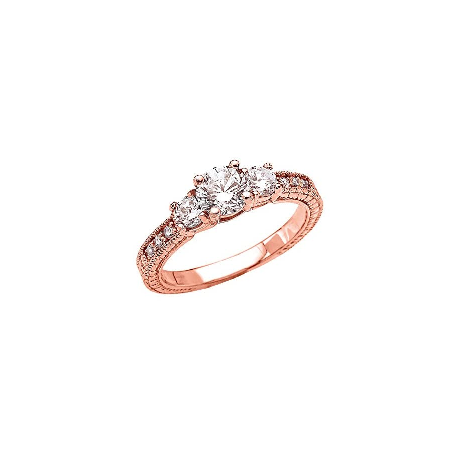 Art Deco Diamond 10k Rose Gold Engagement and Proposal Ring with 1 Carat White Topaz Centerstones