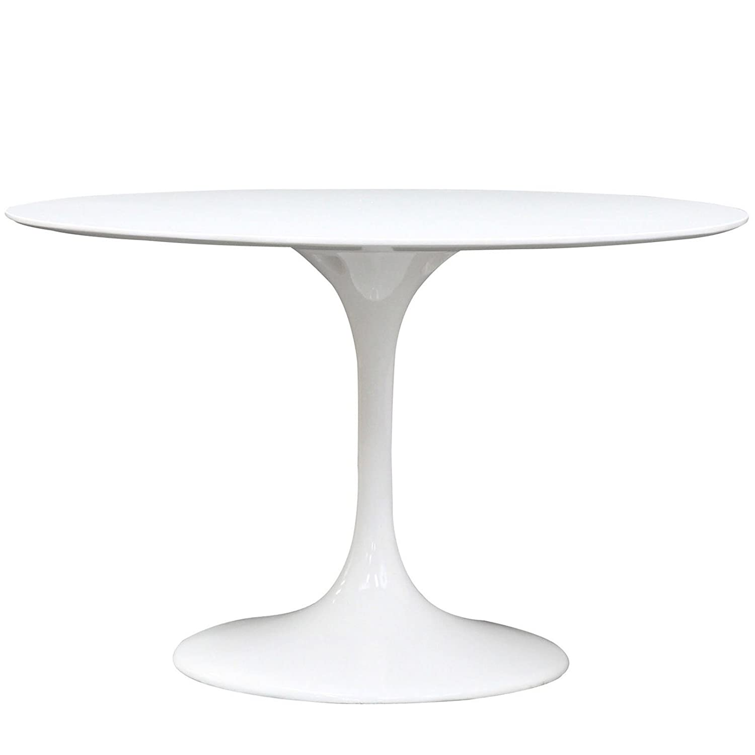 Amazon com modway lippa 48 inch round fiberglass dining table in white kitchen dining