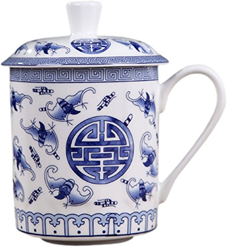 BandTie Convenient Travel Home Office Chinese Gongfu Loose Leaf Tea/Coffee Brewing System- Bone China Porcelain Tea Cup/Coffee Cup/Tea Mug/Coffee Mug Personal Teacup with Tea Cup Lid,Fu Shou Pattern