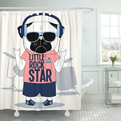 Emvency Shower Curtain Roll Little Rock Star Pug Dog for Tee Waterproof Polyester Fabric 72 x 72 Inches Set with Hooks (Rock Star Shower Curtain)