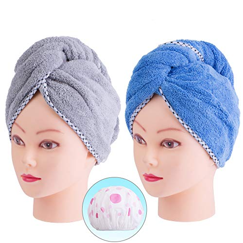 Wrap Hair Accessory (Monarca Hair Drying Towel, 2 Pack Plush Soft Fleece Hair Turban Towel, Fast Drying for Bath, Twist Ultra Absorbent Shower Hair Wrap for Women and Girl (Mint Blue, Grey))