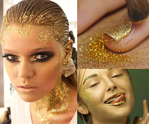 12 Jars Golden Body Art Glitter Rave Festival,DIY Sequins 3D Holographic Cosmetic Glitter for Body Nail Face Hair Eyeshadow Lip Gloss Making