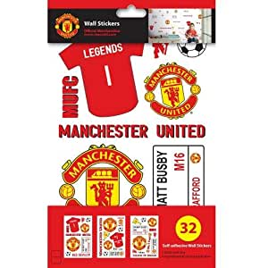 Manchester United F.C. Wall Sticker Pack- wall sticker set- 32 assorted stickers- on a backing card- official licensed product