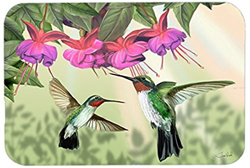 Caroline's Treasures PTW2051LCB Fuchsia And Hummingbirds Glass Cutting Board, Large, Multicolor