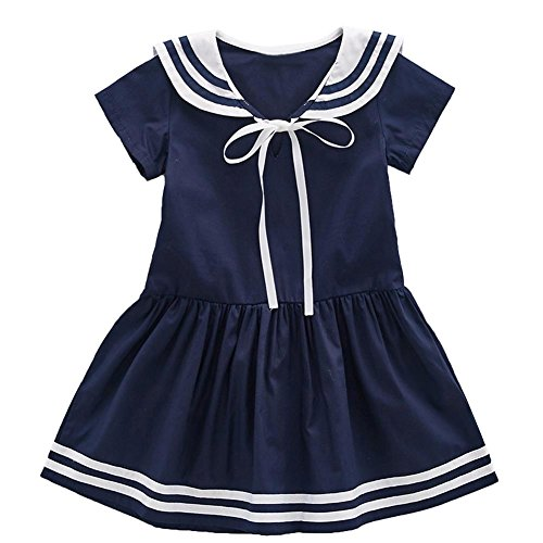 Nautical Sailor Navy White Dress - Frogwill Girls Short Sleeve Navy Nautical Sailor Dress (5T, Navy)