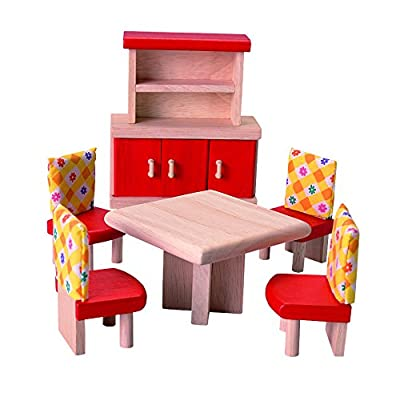 PlanToys Neo Line of Wooden Dollhouse Furniture - Dining Room (7306) | Sustainably Made from Rubberwood and Non-Toxic Paints and Dyes: Toys & Games