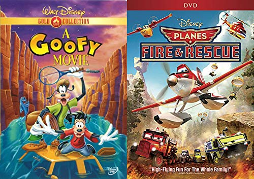 High Flying Goofy Fun Disney Cartoon Movie Planes Fire & Rescue + A Goof Movie DVD Animated Double Feature Set Family Bundle]()
