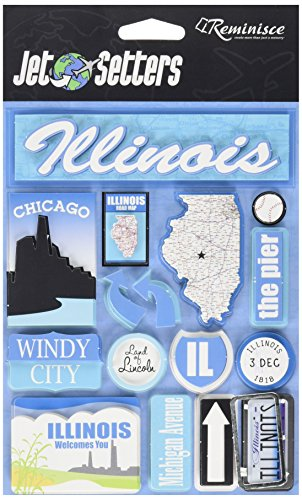 (Reminisce Jet Setters Self-Adhesive Epoxy Embellishments, Illinois)