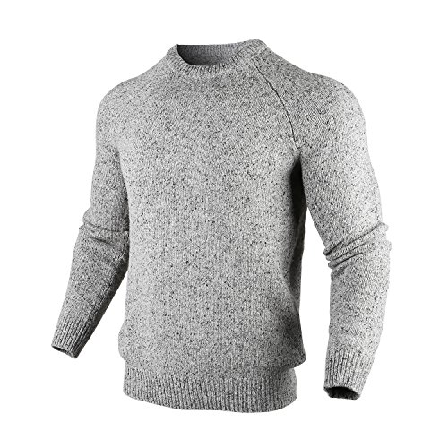 BeMoreWithLess Men's Slim Fit Wool Blend Crew Neck Sweater Knit Pullover