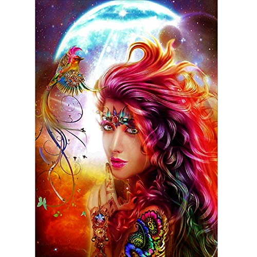 MXJSUA 5D Diamond Painting Round Drill Kits for Adults Pasted Embroidery Cross Stitch Arts Craft for Home Wall Decor Phoenix Goddess 12x16in -