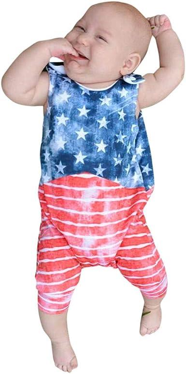 Infant Baby Boys Kids 4th of July Cartoon Letter Romper Jumpsuit Bodysuit Outfit