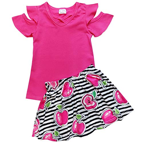 So Sydney Toddler & Girls Apple Back to School Collection Skirt Set, Dress or Outfit (XXL (7), Hot Pink Skirt (Capri Outfit Set)