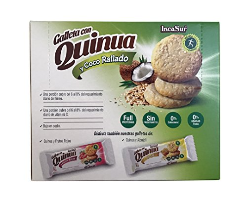 Amazon.com: IncaSur Quinoa Cookies with Grated Coconut 6 Count Each - 180 grams Each (2 packs)