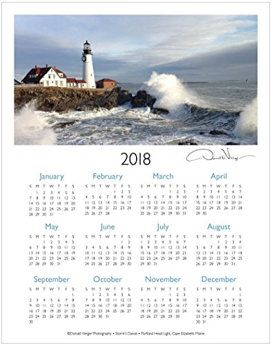 2018 Lighthouse One Page Fine Art Wall Calendar. Storm's Dance. 11x14 For Framing. Best Quality Birthday, Christmas, Mother's Day & Valentines Gifts for Women, Men & Kids. Unique Idea for Him or Her.
