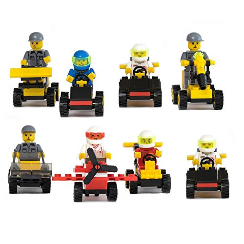 Lego-Compatible Buildable Vehicles with Minifigures (Set of 8) for Party Favors, Racing, Gifts, or Just to Build for (Boy Party Favors)