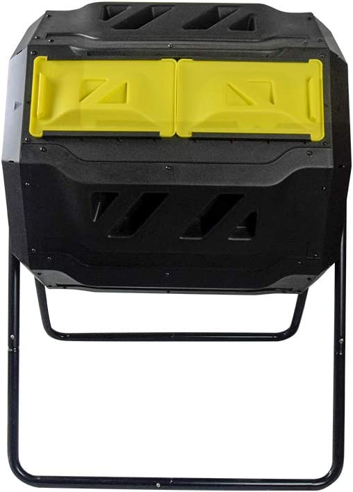 EJWOX Large Composting Tumbler – Dual Rotating Outdoor Garden Compost Bin, Easy Turn Enough Height Heavy Duty Capacity Composter 43 Gallon, Yellow