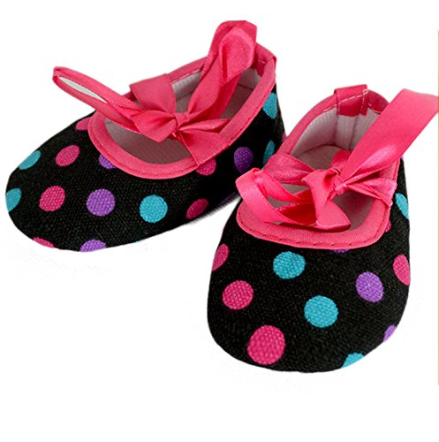 CHUBBY FOOTIQUE Baby Polka Dot Crib Shoes With Satin Ribbon Ties From& A Headband To Match 9 - 12 Months Black w/ Colourful Polka Dots