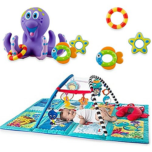 Nuby Octopus Hoopla Bathtime Fun Toys, Purple & Baby Einstein Discovery Seas Multi Mode Gym by Nubi Baby