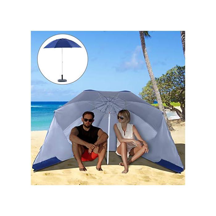511HKb6PCLL ✅Sombrilla 2 en 1: Parasol tradicional + Tienda espaciosa con paneles laterales paravientos. Equipado con 5 ganchos y 1 lazo D para mayor fijación. ✅Cubierta de tela poliéster de alta calidad con revestimiento UV50, que protege eficazmente contra el sol y los rayos UV. Resistente a las inclemencias del tiempo. ✅Cubierta de tela poliéster de alta calidad con revestimiento UV50, que protege eficazmente contra el sol y los rayos UV. Resistente a las inclemencias del tiempo.