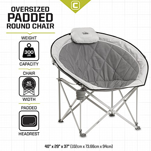 511HKbjm4iL - Core-Equipment-Folding-Oversized-Padded-Moon-Round-Saucer-Chair-with-Carry-Bag-Gray