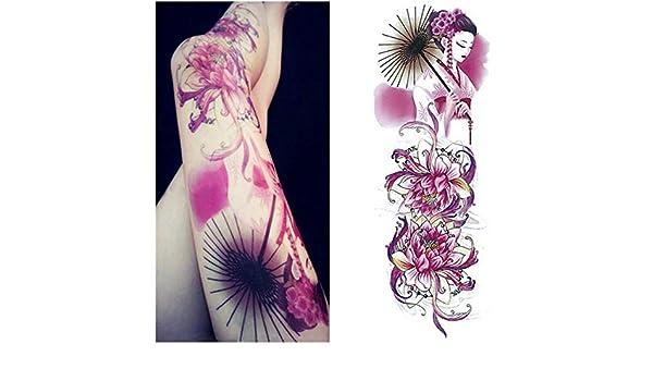 3 unids-Brazo Completo Tatuaje Etiqueta engomada Femenina Cuerpo ...