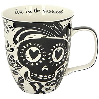 Karma Gifts Boho Sugar Skull Mug, Black/White