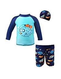 Boys' 3 Pieces Swimsuits Swim Trunks T-shirt Swimwears (height 80-130cm)