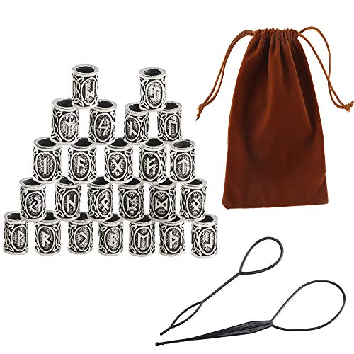 Viking Beard Beads FOGAWA 27Pcs Norse Runes Hair Beard Beads Silver Braiding Beads with Threading Tool and Pouch for Bracelets Necklace Pendant]()