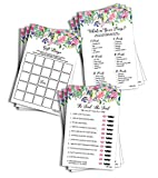 Large Floral Bridal Shower Game Pack (150-sheets) - 50 He Said She Said, 50 Gift Bingo, 50 What's in Your Purse (Large Sheet Size)